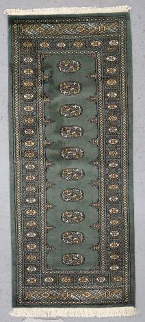 Olive Green Bokhara Hallrunner 196 x 82 cm