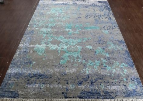 Turquoise and Indigo Silk Abstract rug 353 x 253 cm