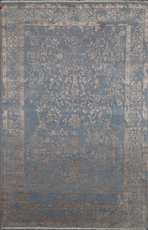 Handknotted rug in soft Blue wool and Grey silk  276 x 179 cm