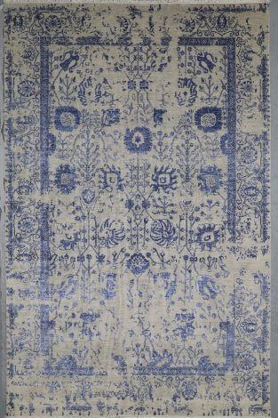Ultimate Luxury  Grey/ Blue Silk Rug 313 x 201 cm