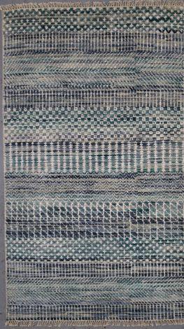 Contemporary blue silk wool rug  157 x 91 cm
