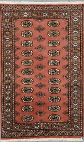 Bokhara Burnt Coral Apricot NZ wool rug  150 x 93 cm
