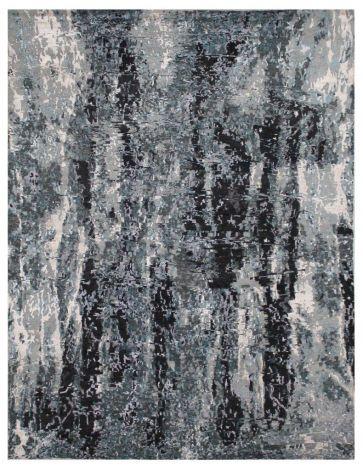 Marine Retro Abstract  rug  wool and silk.  298 X 240 cm