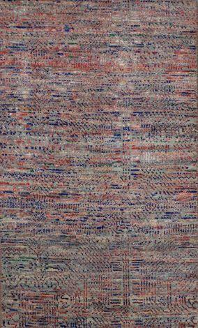 Silk and Wool rug Grey Blue Magenta 151 x 92 cm