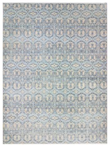 Organic Pattern Blue Cream Wool Rug 424 x 302 cm