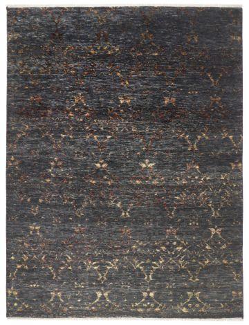 Modern Rug Black and Burgundy Velvety Wool 361 x 272 cm
