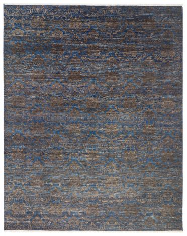 Blue Abrash Rug with arabesques in Cocoa 348 x 270 Cm