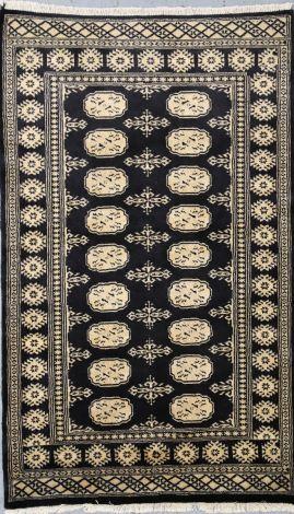 Black Silky Velvety Bokhara Rug  150 x 91 cm