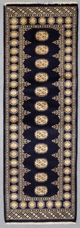 Navy Blue Elegant Bokhara Runner 231 x 78 cm