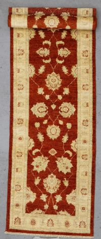 Chobi hand knotted runner red 342 x 82 cm