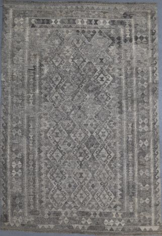 Simple Grey Pattern tribal Choobi Killim 297 x 205 cm